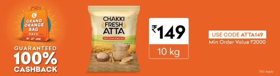 GOBD Sale - 10 Kg Chakki Fresh AATA Rs .149 Only