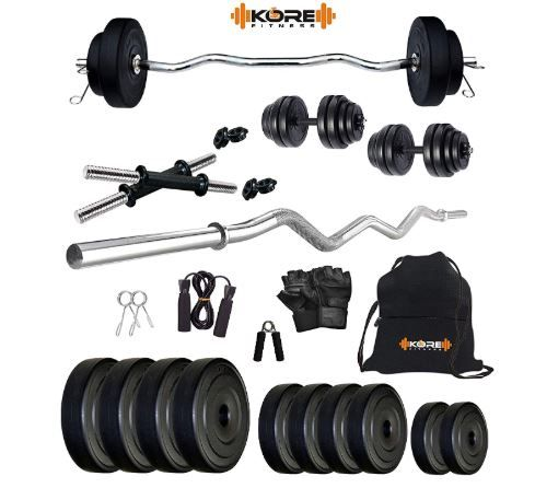 Kore K-PVC 20kg Combo 3 Leather Home Gym and Fitness Kit at Just Rs. 999