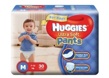 Apply 10% Code:- Huggies Ultra Soft Pants Medium Size Premium Diapers for Boys (White, 30 Counts)