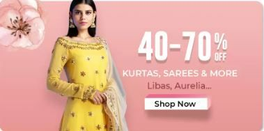 Up to 40% - 70% off on kurta sarees and More from Rs.99