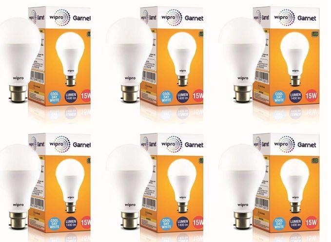 Wipro Garnet 15-Watt LED Bulb (Pack of 6, Cool Day Light) on 80% Off