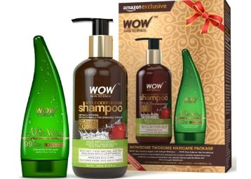 Apply 15% Code- WOW Apple Cider Vinegar Shampoo with WOW 99% Pure Aloe Vera Gel Combo Kit Rs. 394