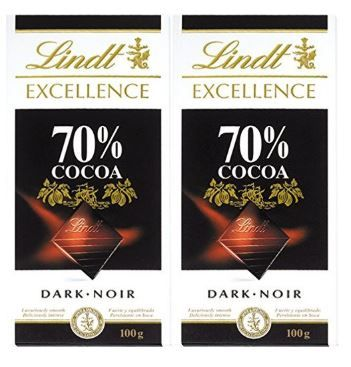 Lindt Excellence 70% Cocoa Dark Chocolate, 2 X 100 g on 50% Off