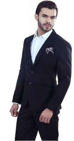 ManQ Black Slim Fit Woollen/Tweed Men