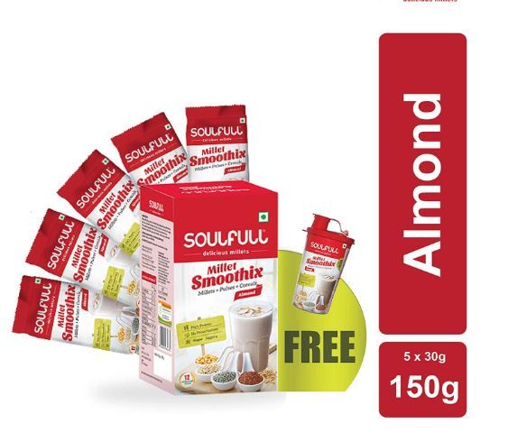 Soulfull Millet Smoothix - Almond - 5 Single Serve Sachets with Shaker