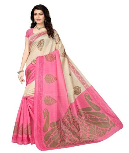 Mrinalika Fashion Art Silk Saree With Blouse Piece on 81% off