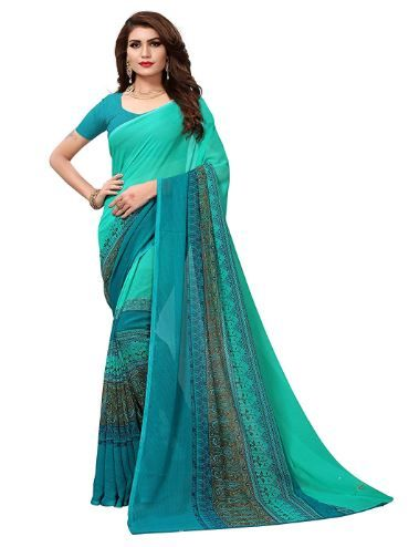 Mrinalika Fashion Georgette Saree With Blouse Piece on 79% off