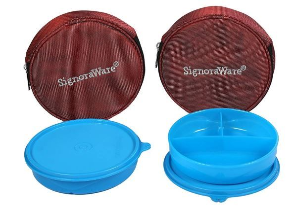 Signoraware Mini Meal Lunch Box with Bag Set, 550ml, Set of 2, Turkish Blue on 58% off