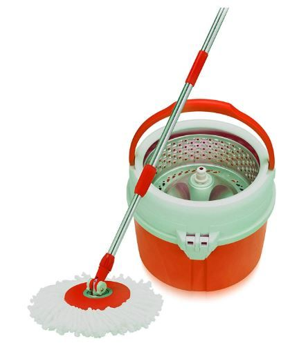 Cello Kleeno Ultra Clean Spin Mop Bucket With Round Refill Heads (Orange, 4-Pieces) on 58% Off