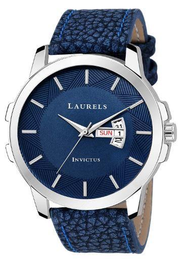Laurels Blue Color Day & Date Analog Men