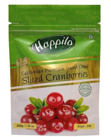 Happilo Premium Californian Dried and Sweet Sliced Cranberries, 200g on 45% off + Extra 10% Coupon