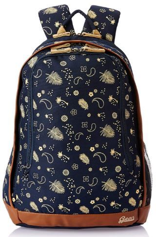 Gear 26 Ltrs Navy Blue and Beige Casual Backpack on 56% off