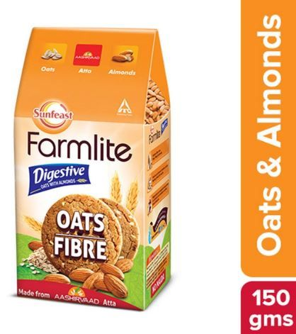 Sunfeast Farmlite Digestive Oats with Almonds Biscuits, 150g on 20% off
