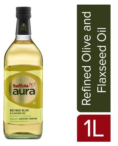 Flat 60% off on Saffola Aura Refined Olive & Flaxseed Oil, 1 L