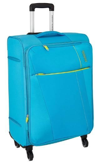 Flat 70% off on American Tourister Michigan Polyester 79 cms Aqua Suitcase