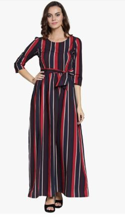 Flat 70% off on Navy Blue Striped Maxi Dress