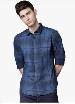 Flat 50% off on Navy Blue Comfort Slim Fit Checked Casual Shirt