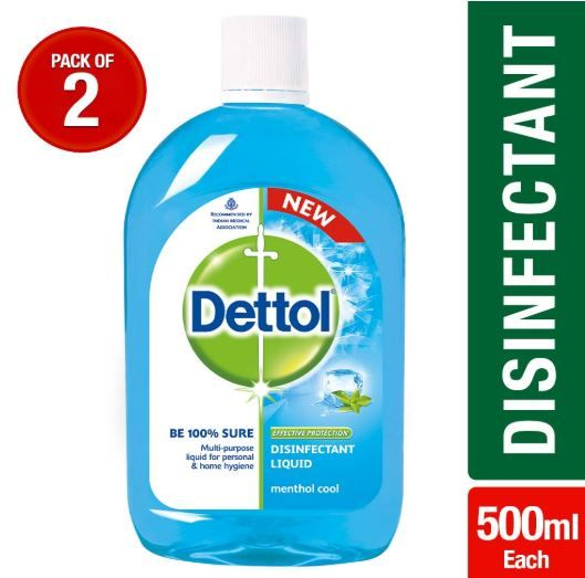 Dettol Disinfectant Liquid (Menthol Cool) - 500 ml (Pack of 2) at Rs. 209