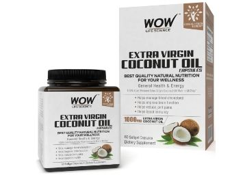 Apply 10% Code: WOW Extra Virgin Coconut Oil 1000mg - 60 Softgel Capsules at Flat 72% Off