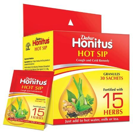 Flat 30% off + 30% Coupon - Dabur Honitus Hot Sip Ayurvedic Khaada (Pack of 30 Sachets)