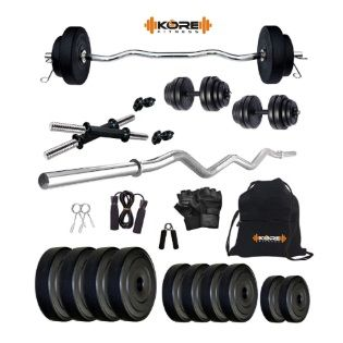 Flat 68% off on Kore K-PVC 20kg Combo 3 Leather Home Gym and Fitness Kit