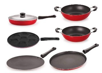 Flat 63% off on Nirlon Non-Stick Aluminium Cookware Utencils Set with 1 Lid, 6-Pieces, Red & Black
