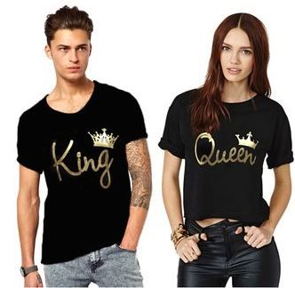 Flat 77% off on King And Queen Couple Combo Cotton Tees