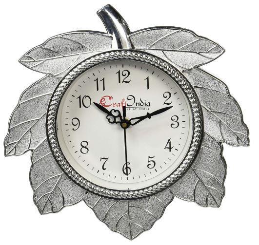 Flat 70% off on eCraftIndia Retro Leaf Shape Plastic and Glass Wall Clock (27.5 cm x 2.5 cm x 27.5 cm, Silver)