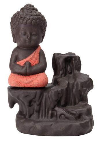 Flat 91% off on eCraftIndia Meditating Monk Buddha Smoke Backflow Cone Decorative Incense Holder (7 cm x 7 cm x 12, Red)