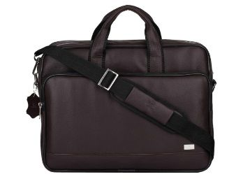 Flat 67% off on K London Brown Vegan Leather Handmade Men Laptop Bag