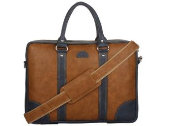 Flat 53% off on K London Leatherite Handmade Tan Unisex Bag