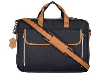 Flat 69% off on K London Black Tetron & Tan Vegan Leather Handmade Men Laptop Bag