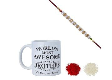 Flat 94% off on Aheli AD Ring Pearl Rakhi for Men with Mug and Roli Chawal Tilak (Gold)