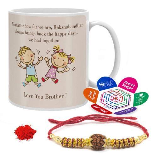 Raksha Bandhan Gift Set Of Mug 330 Ml, Crystal Rakhi For Brother, Roli, Chawal & Greeting Card At Rs.249