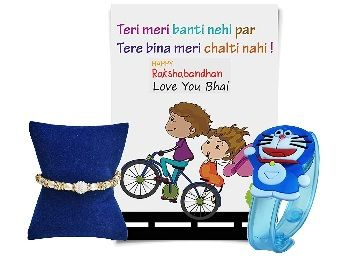 Pearls Gems and Blue Doremon LED Light Rakhi and Greeting Card for Boys At Just Rs.188