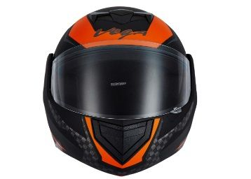 Flat 29% off on Vega Off Road D/V Gangster Full Face Helmet (White and Blue, Medium)