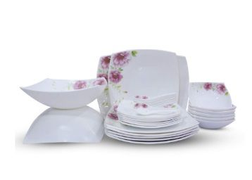 Soogo Opalware Dinner Set, 27-Pieces, White and Pink At Rs. 3094