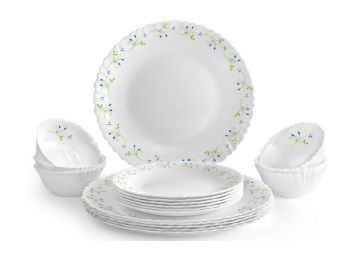 Cello Tropical Lagoon Opalware Dinner Set, 18-Pieces, White At Rs.999