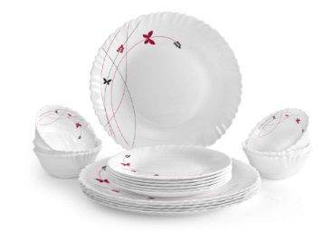 Cello Lush Fiesta Opalware Dinner Set, 18-Pieces, White At Rs.931