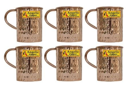 Flat 84% off on Angelic Copper Handmade Copper Cup Set, 400ml, 6-Pieces, Brown