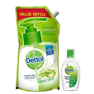 Apply Coupon - Dettol Germ Protection pH-Balanced Liquid Hand Wash Refill, Aloevera - 750 ml with Dettol Hand Sanitizer, Original - 50ml