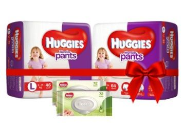 Apply Rs. 500 Coupon - Huggies Wonder Pants Comfort Pack Large Size Diapers (110 Count) and Huggies Baby Wipes - Cucumber & Aloe Pack of 2 (144 Wipes)