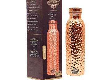 Flat 69% Off: Indian Art Villa Hammered Thermos Design Copper Bottle, Travelling Purpose at Rs. 495