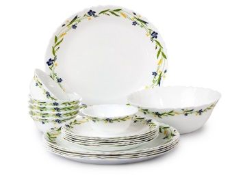 Cello Imperial Amazon Creeper Opalware Dinner Set, 19 Pieces, White AT Rs,1284