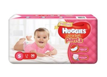 Apply Rs.175 Coupon - Huggies Ultra Soft Pants Diapers for Girls, Small (Pack of 36)