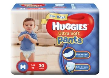 Apply Rs.175 Coupon - Huggies Ultra Soft Pants Diapers for Boys, Medium (Pack of 30)