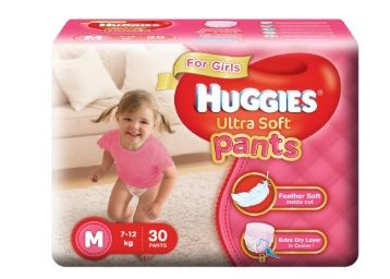 Apply Rs.175 Coupon - Huggies Ultra Soft Pants Diapers for Girls, Medium (Pack of 30)