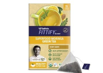 Flat 68% off on Saffola FITTIFY Gourmet Superfood Moringa Green Tea, Honey Lemon, 15 Sachets, 37.5g