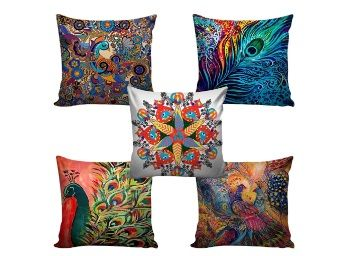 Flat 83% off on swasiya Jute Cushion Cover (Multicolour, 16x16)-Set of 5