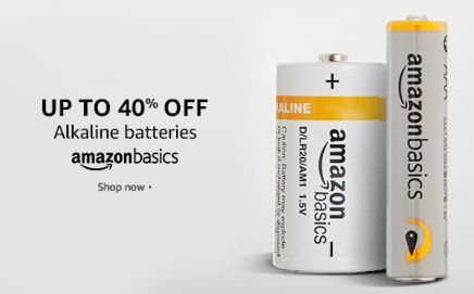 Up to 40% off on AmazonBasics Alkaline Non-Rechargeable Batteries